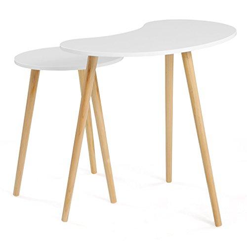 SONGMICS Lot de 2 Tables Basses superposables Style scandinave Table d'appoint Pieds en Bois de pin Massif Couleur Blanche et Naturelle LET06WN