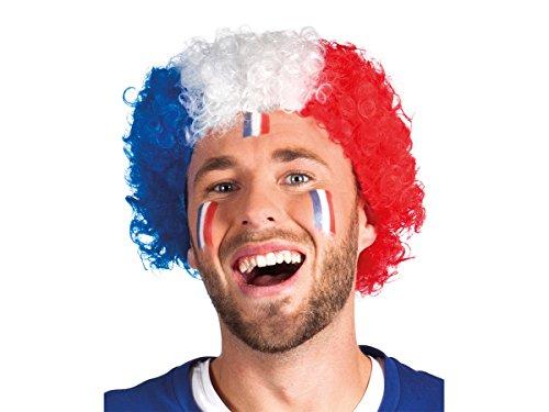 Alsino Perücke Frankreich blau weiß rot Afroperücke Lockenperücke Fußball Fanartikel