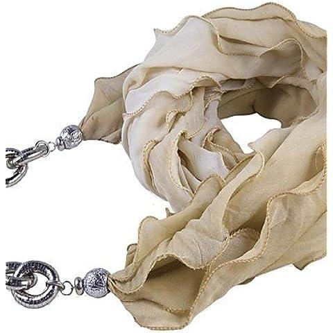 Xoe LE manera de la bufanda larga de poliéster de rainso®women con el grano de la cadena de serpiente de poliéster