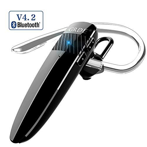 GRDE Bluetooth Headset Freisprechen Headset 4.2 Bluetooth Kopfhörer CVC 6.0 mit Mikrofon, 10Hrs Geschäft Talk Kabellos Ohrhörer mit Siri Kompatibel für Business Büro/Fahren/Sport für Smartphone