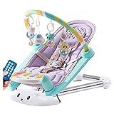 Babywippen Baby Prahler Schaukel Automatischer Vibrierender Stuhl des Babys Musikalischer Schaukelstuhl Elektrischer Recliner Wiegen Geeignet für Neugeborene Bis Kleinkinder (Color : Purple)