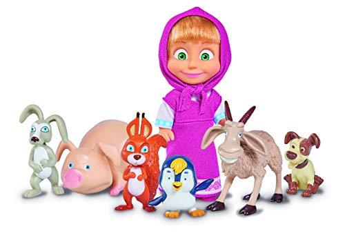 Simba - 109301020 - Masha & Michka - Poupée Masha et ses Petits Animaux - 6 Animaux - 12 Cm