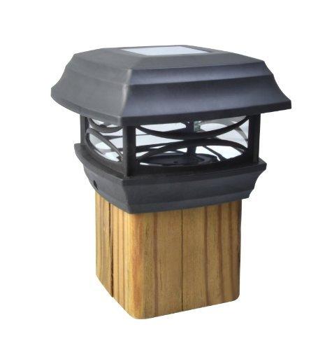 Moonrays 91253 Solar-Powered Post Cap LED Light for 4x4 Wooden Posts, Black by Moonrays - Solar Powered Post Caps