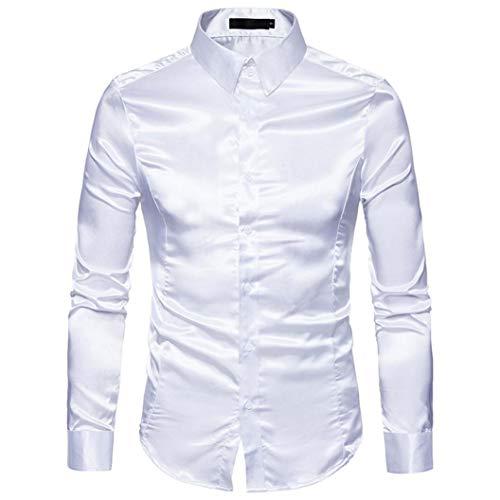 Herren Hemd Langarmshirt Vintage Glänzendes Mode Metallic Glänzend Glitzer Schlank Fit Shirt für Nightclub Party Tanzen Disco Halloween Cosplay Kostüm(Weiß, EU-50 / CN-L)