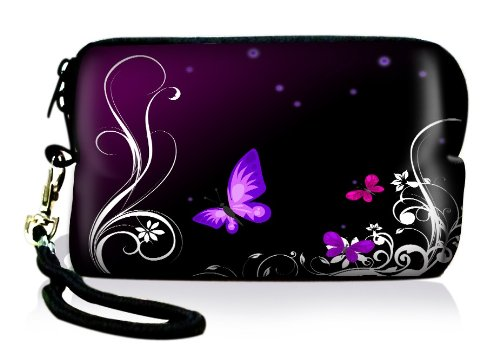 Luxburg® Design Universal Kameratasche Hülle Sleeve Case für kompakte Digitalkamera, Motiv: Schmetterlinge lila