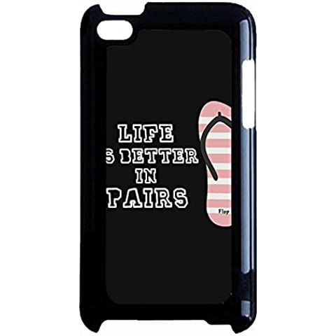 Ipod Touch 4th Generation Flip Flop Lovers Case Cover Unique Design Life Is Better In Pairs Matching Couple Phone Case Cover Hard PC Cell Shell for Ipod Touch 4th Generation