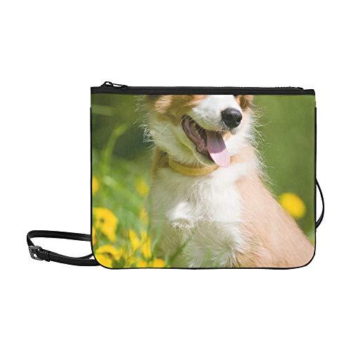 (AGIRL Border Collie Puppy Sitting Dandelions Benutzerdefinierte hochwertige Nylon Slim Clutch Cross Body Bag Umhängetasche)