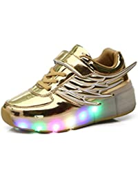 Mr.Ang lumières LED clignotantes roller skates chaussures de sport enfants garçons et filles chaussures de skate avec des chaussures de skate ont une roue chaussures de course