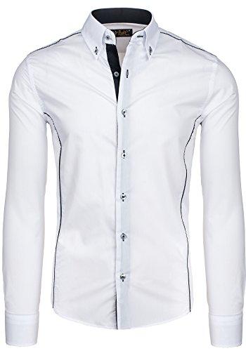 BOLF - Chemise casual - à manches longues – BOLF 5722 - Homme Blanc-Noir