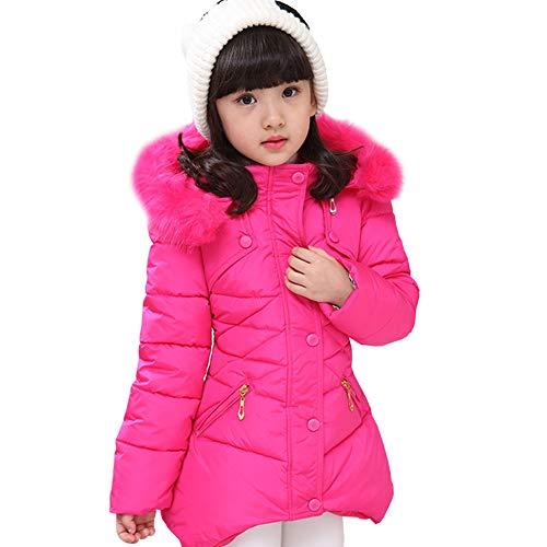 LSERVER Mädchen Dicke warme Daunenjacke Kinder Mode Winterjacke, Rose Rot, 122/128(Fabrikgröße: 130)