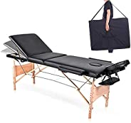 COOLBABY Portable Massage Table Professional Adjustable Folding Bed with 3-part Wooden Frame Ergonomic Headres