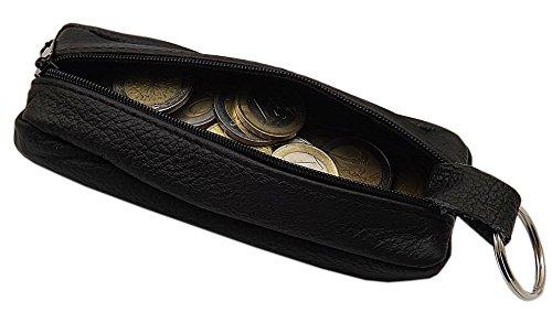 Große Echt Leder Schlüsseltasche mit 1 Reißverschlussfach Handmade in EU in Schwarz in Verschiedenen Designs (Design 2)