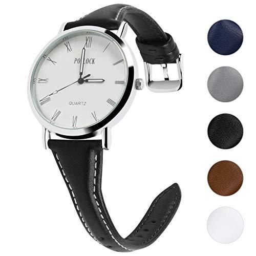 Fullmosa 5 Farben Uhrenarmband, Schmal Lederarmband Armbanduhr mit Edelstahl Schnallen für Herren Damen 22mm