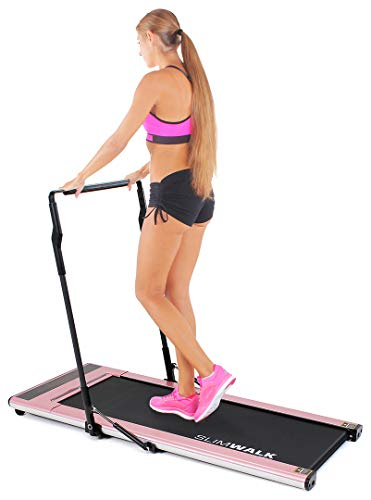 Miweba Sports Laufband SlimWalk S200 - intelligenter Startmodus - ultraflaches Design - große Lauffläche - klappbar - Flach (Roségold)