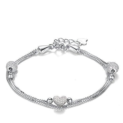 J. Vénus Mujer Joyas, pulsera de mujer plata con corazón , plata de ley 925 circonita, joyas con caja de joyería hermosa (ewige Amor - Color Blanco)...
