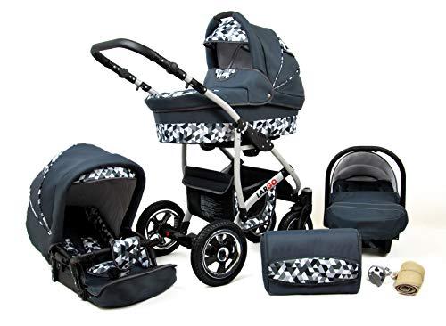 Kinderwagen Largo,3 in 1 -Set Wanne Buggy Babyschale Autositz mit Zubehör Grey Geometric