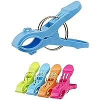 Pixnor 4pcs multifunzionale Bright colore plastica spiaggia asciugamano clip clip