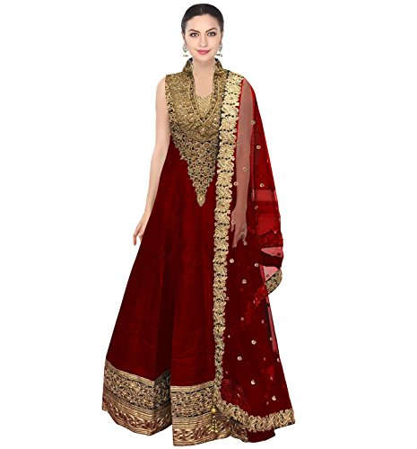 FabTexo Red Raw silk long Dress for women(Semi-Stitched)