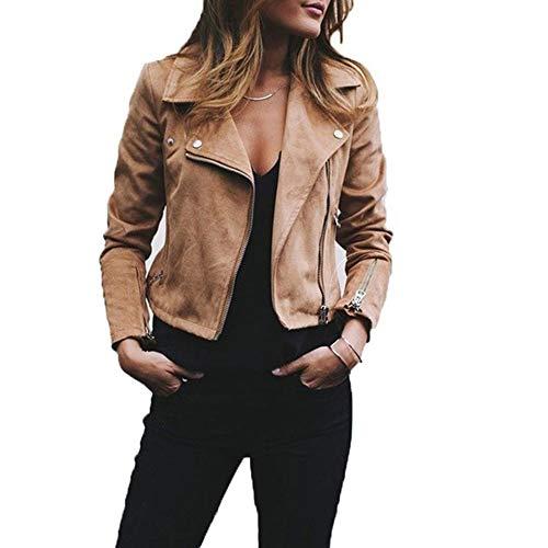 YMCHE Damen Slim Leder Kurze Jacke Mantel für Frauen Lange Ärmel Reißverschluss kurz Moto Biker Mantel, Khaki, Größe S - Faux Wildleder Blazer Jacke