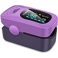 JUMPER 500A Oxymètre de Pouls Pulsomètre Portable SpO2 (Saturation d'oxygène du Sang) et Moniteur de Fréquence Cardiaque Avec écran LED Numérique CE et FDA a Approuvé (Violet)