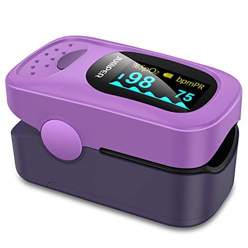 JUMPER 500A Fingerpulsoximeter Herzfrequenzmesser Pulsoximeter für Sport, Home Health Care - Einschließlich Lanyard, Silikon Cover und Batterien (Lila)
