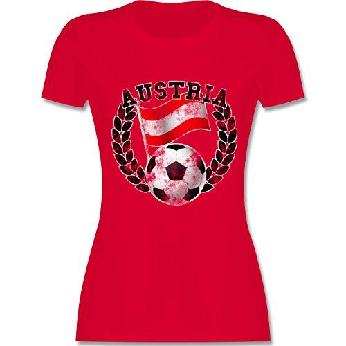 EM 2016 - Frankreich - Austria Flagge & Fußball Vintage - tailliertes Premium T-Shirt mit Rundhalsausschnitt für Damen Rot