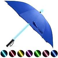 BESTKEE LED Paraguas Lightsaber Infantil Hombre Mujer, Luz para Arriba Paraguas de Golf con el Cambio de Color del Eje