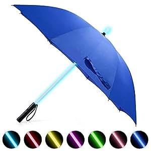 LED Regenschirm im Laserschwert-Design Schwarz Star Wars Schirm mit 7 Farben und Integrierter Taschenlampe (Blau 1)