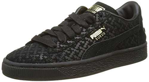 Puma Unisex-Kinder Batman Suede FM Jr Low-Top, Schwarz (Puma Black-Puma Black-Puma Team Gold 01), 35.5 EU