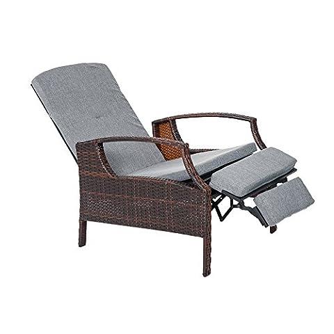 Life Carver Outdoor Rattan Wicker Patio Adjustable Recliner Lounge Chair Auto Adjustable Rattan Chair
