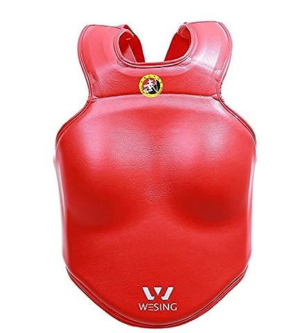 SANDA Coffre Guard pour compétition Wesing Cuir Coffre de kickboxing film de boxe Corps Shield, Red Female