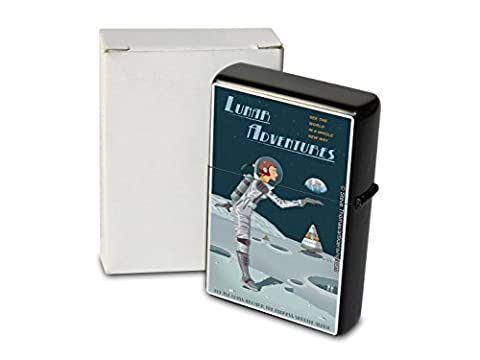 Pocket Windproof Lighter Brushed Oil Refillable Moon landing astronaut