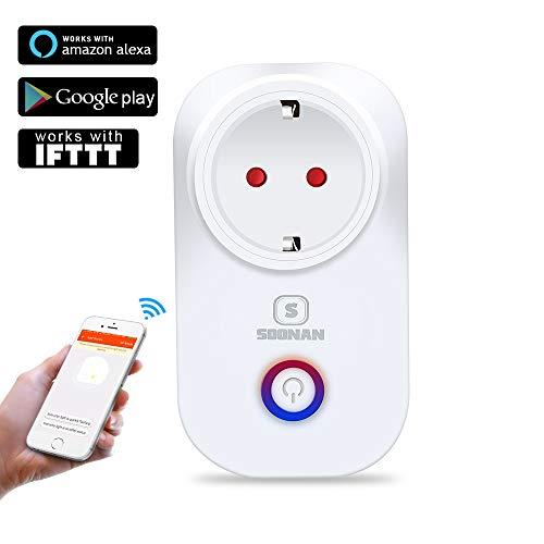 Enchufe inteligente wifi,SOONAN Interruptor Control Remoto dispositivos domésticos, para iOS y Android. Compatible con Alexa, Google Assistant y asistente de Google IFTTT(europeo)
