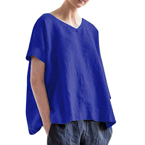 Likecrazy Damen Bluse Leinen T-Shirt Frauen Elegante Top Bluse Tees Damen Mode Kurzarmshirt Reine Farbe Damenbluse Baumwolle Lässige Tunika