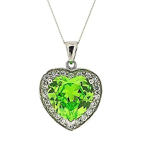 Toc argento Sterling verde cristallo ciondolo a forma di cuore, lunghezza (Peridot Forma Di Cuore Ciondolo)