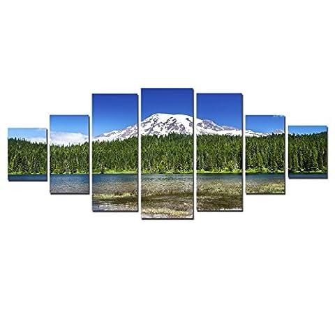 Startonight nachtleuchtendes gerahmtes groß Art Frühling in den Bergen, Kunstdruck von Fotos auf Leinwand xxl Bild Wandbild–Moderne Deko D 'Art 7Pieces: fertig auf Rahmen, 100x