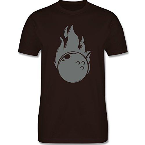 Bowling & Kegeln - Bowling Flammen Ball einfarbig - Herren Premium T-Shirt Braun