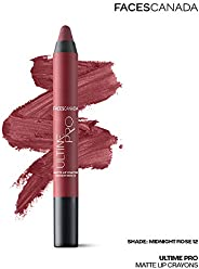 Faces Canada Ultime Pro Matte Lip CrayonMidnightRose 12 2.8 g With Free Sharpener (Maroon)