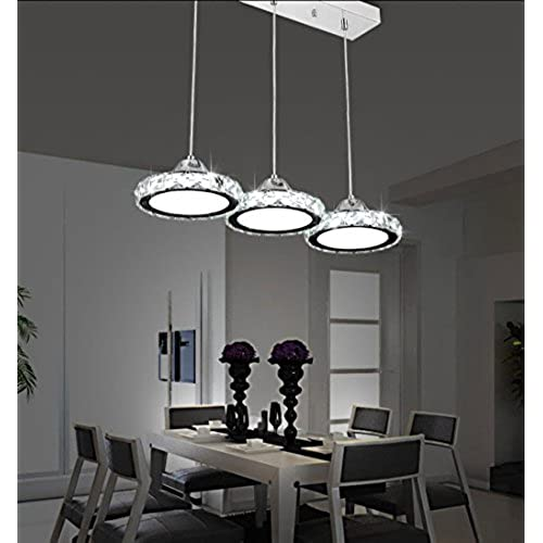 Restaurant Chandelier Three Modern Minimalist Lamp Round Crystal Pendant Dining Bar Table