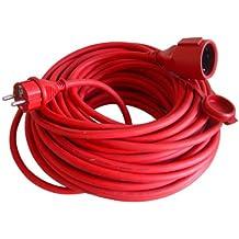 uniTEC 44590 - Cable alargador eléctrico de goma (H05RR-F 3G1, 5 mm², 25 m), color rojo