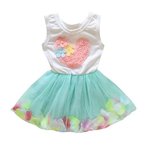 Alwayswin Baby-Mädchen Prinzessin Kleider Mädchen Kleider Sommerkleid Blume Baumwolle Lässige Kinderkleidung Kurze Kleid Lässiger T-Shirt Kleid Flower Lace Tulle Tutu Party Kleid