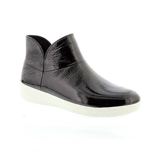 FitFlop Damen Patent Supermod II Ankle Boots Aus Leder - Schwarz, Schwarz, 39 (Patent Schuhe Frauen Schwarz Leder)