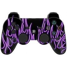 Sony Playstation 3- Lámina protectora adhesiva para mando de PS3, Purple neon Flames