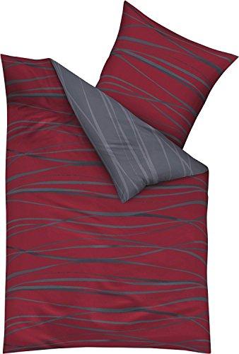 Kaeppel Edel - Seersucker Bettwäsche Motion rubinrot 1 x 80x80 + 1 x 135x200 cm
