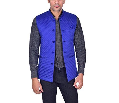 Ellegent Exports Men's Cotton Designer Modi Nehru Jacket Blue XL