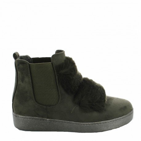 Ideal Shoes - Bottines style chelsea effet daim avec fourrure Pierrette Vert