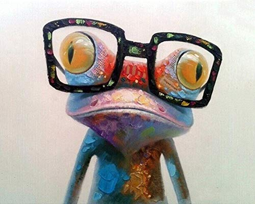 Ölfarbe nach Zahl Acrylmalerei Home Decor DIY EIN Farbiger Frosch mit Brille Malen für Erwachsene mit Pinsel-kein Rahmen 40X50cm