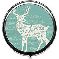 LinJxLee Christmas Deer Round Pill Case Pill Box Tablet Vitamin Organizer Easy to Carry preisvergleich bei billige-tabletten.eu
