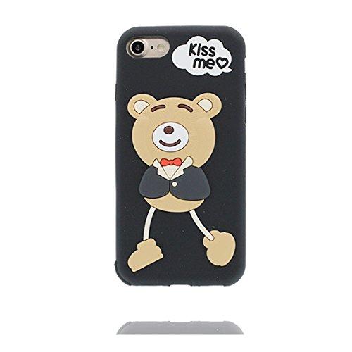 iPhone 7 Custodia, iPhone 7 Copertura 4.7, TPU durevole Case Cartoon 3D Cover & penna di tocco - Cartoon rosa orso bear ( Per iPhone 7 ) / Flessibile / alla moda / resistente alla polvere Nero 1