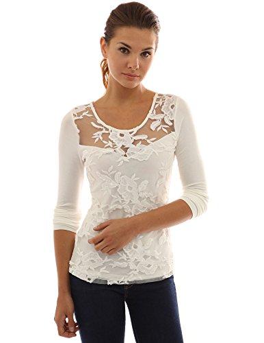 PattyBoutik Damen Bluse mit Spitzeneinsatz und U-Ausschnitt Elfenbein